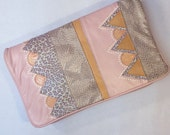 vintage 1980s SNAKESKIN APPLIQUE bag | pink convertible clutch | free ship