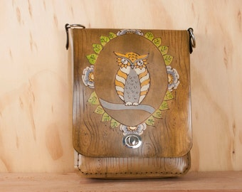 Small Leather Cross body Bag - Shoulder bag in the Emerson Pattern with Owl and Woodgrain - Antique Brown Leather - Womens Handbag