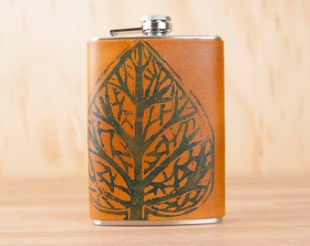 Leather Flask - Handmade Hip Flask in the Leaf Pattern with hand-printed leaf - 8oz Size - Groomsman Flask - Wedding Flask