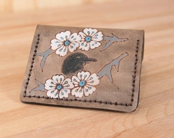 Leather Wallet - Small Wallet - Minimalist Wallet - Handmade in the Heather pattern with crow and flowers