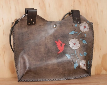 Leather Tote - Margot pattern with hummingbird - Pink silver turquoise and antique black - Handmade leather purse handbag