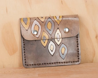 Small Wallet - Leather Front Pocket wallet with Coin Pouch - Pato Pattern in yellow, gray and antique black - Mens or Womens Wallet