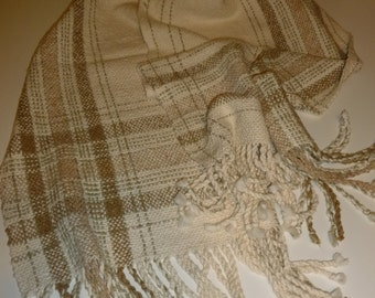 Handwoven Shawl, organic cotton, linen