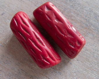 Vintage Antique Bohemian Early 1900s Rare Handmade Faux Coral Molded Glass Trade Beads - 38mmx14mm - Lot of 2