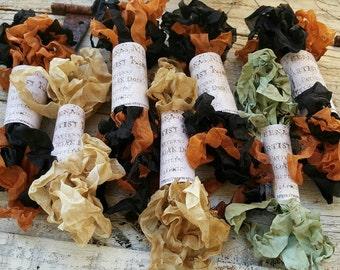 Crinkle Ribbon Halloween Black Orange 6 Yards Primitive Dirtied Vintage Crinkled Dyed Kim Kohler Veenas Mercantile Hand Made Supply Cloth