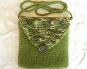 Sage Green Knit Felted Cross Body Hipster Purse - PROCEEDS FOR CHARITY