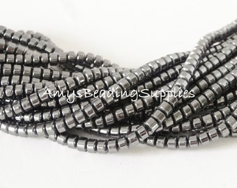 2 Strands, Hematite Thick Plate Beads 4mm, 16-Inch Strands (130 Beads per strand)