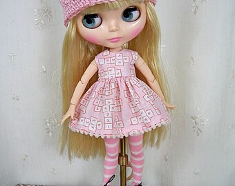 Blythe Doll Dress, Blythe Hat, Blythe Dress, Blythe Stockings, Hat and Dress, Blythe Outfit. Free US Shipping