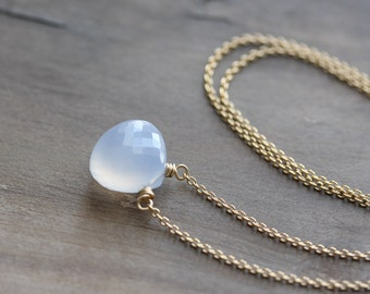 Chalcedony necklace - Turkish chalcedony briolette on gold chain - simple layering necklace - gemstone pendant - gift for her