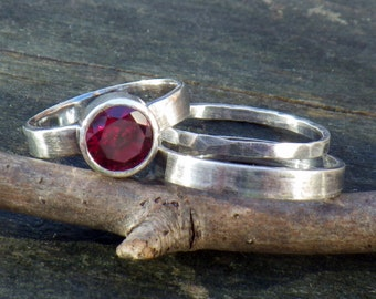 Garnet sterling silver stacking rings