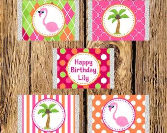Printable Flamingo Birthday Mini Candy Bar Wrappers