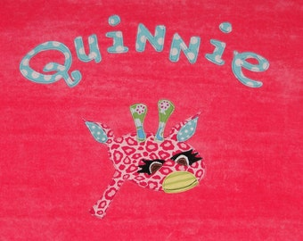 Personalized Large Pink Velour Beach Towel with Giraffe,Pool Towel,Kids Bath Towel,Camp Towel,Bridal Party Gift,Baby Gift,Giraffe Gift