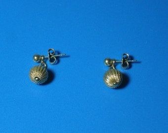 Vintage Textured Gold Ball Drop Post Earrings
