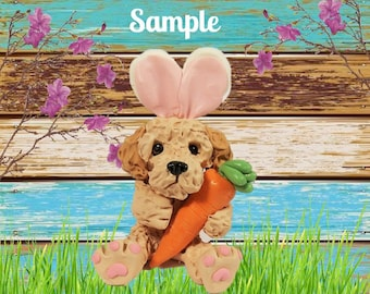 Golden Doodle Easter Bunny dog with Carrot OOAK Clay art sculpture by Sally's Bits of Clay