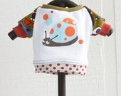 snail saul COURTNEYCOURTNEYgreen cute xs extra small puppy upcycled jersey knit outfit top print