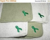 60% Off SALE CLEARANCE Sale 8 Green Ribbon Washcloths Set of 8 Celiac Disease Ribbon Stitched on Washcloths Awareness