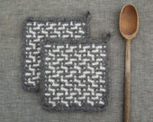Set of Two Felted Wool Potholders  Felted Wool Trivets  Functional Art for the Modern Kitchen  Hand Made ii Gray Tweed and Soft White