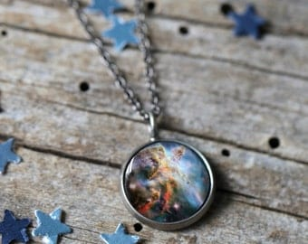 Carina Nebula Pendant - Galaxy Space Necklace - Antique Silver or Bronze - Cosmic Jewellery, Outer Space, Universe Jewelry, Science Gift