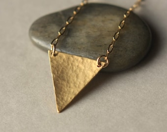 Brass Triangle Necklace, Modern Minimal, Geometric Jewelry, Gold Chain Necklace, Gold Triangle, Modern Brass Jewelry