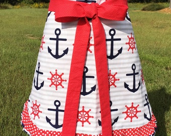 Womens half apron Classy nautical theme colorful hostess reversible anchors