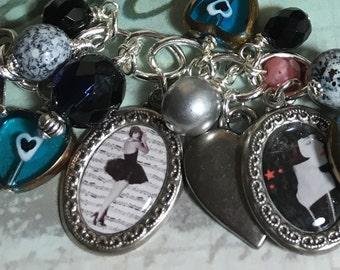 Flapper Girl bracelet, Altered Art Charm ,vintage Diva, Handmade jewelry,  OOAK, Bostoncharm