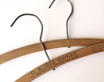 50s Advertising - Wooden Clothes Hangers - Set of 2