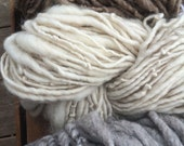 Natural neutral yarn texture pack mixed fiber art 238 yards handspun lot set mohair wool ombre cowl scarf chunky single ply