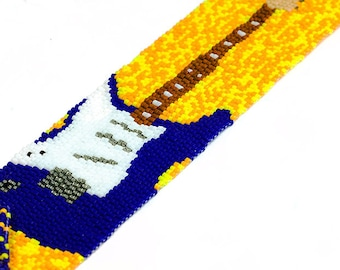 Guitar Cuff // Blue and Yellow // CLEARANCE // Seed Beads // Beadwork // Peyote Stitch // Beaded Bracelet