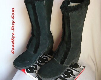 Vintage FLEECE Lined Winter Boots / size 8 M Eur 38 .5  Uk 5 .5 / YODELERS Black Suede Leather / Mid Calf Snow Cold Weather / USA