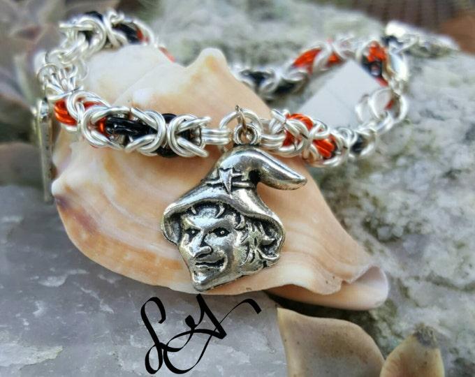 Halloween Charm Bracelet, Chainmaille jewelry, skull bracelet, Byzantine Orange And Black