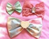 Lolita TEA PARTY Hair Bow Sampler Set Floral Print Antique Rose Lace Seafoam Green Heart Hearts 3pcs Marie Antoinette