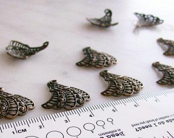 Antiqued Brass Filigree Fan Charm Jewelry Findings  9 Pcs.