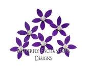 SALE Bridal Hair Flowers, Bridesmaid Gift, Wedding Hair Accessories - 12 Vintage-inspired Purple Mini Orange Blossom Hair Pins - Rhinestone