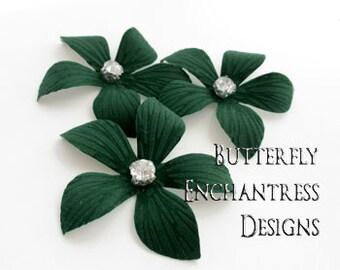 Bridal Hair Pins, Rhinestone Hair Pins, Bridal Hair Piece, Wedding Headpiece, Crystal Hair Pins Accessories - 3 Dk Green Caribbean Plumeria