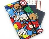 Travel wallet, passport holder, family travel wallet, travel organizer, passport wallet, document holder - Blue Marvel Avengers