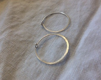 Small hammered silver hoops