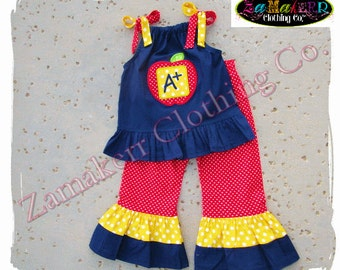 Girl School Outfit Girl Back to School Outfit Apple Pant Set Red 1st day of Kindergarten Preschool 24 MONTH SIZE 2T 2 3T 3 4T 4 5T 5 6 7 8