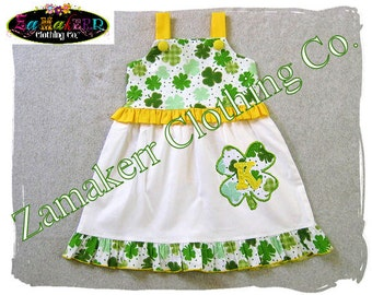 Custom Boutique Clothing St. Patrick's Day Girl Dress Patty Toddler Baby Shamrock Irish 3 6 9 12 18 24 Month Size 2t 2 3t 4 4t 5 5t 6 7 8 t