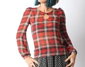 Red plaid blouse, Sheer red blouse, Red top in patterned voile, Womens sheer shirt with long sleeves