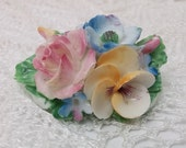1946 Vintage Flower Bouquet Bone China Brooch/Pin by Crown China Crafts made in England