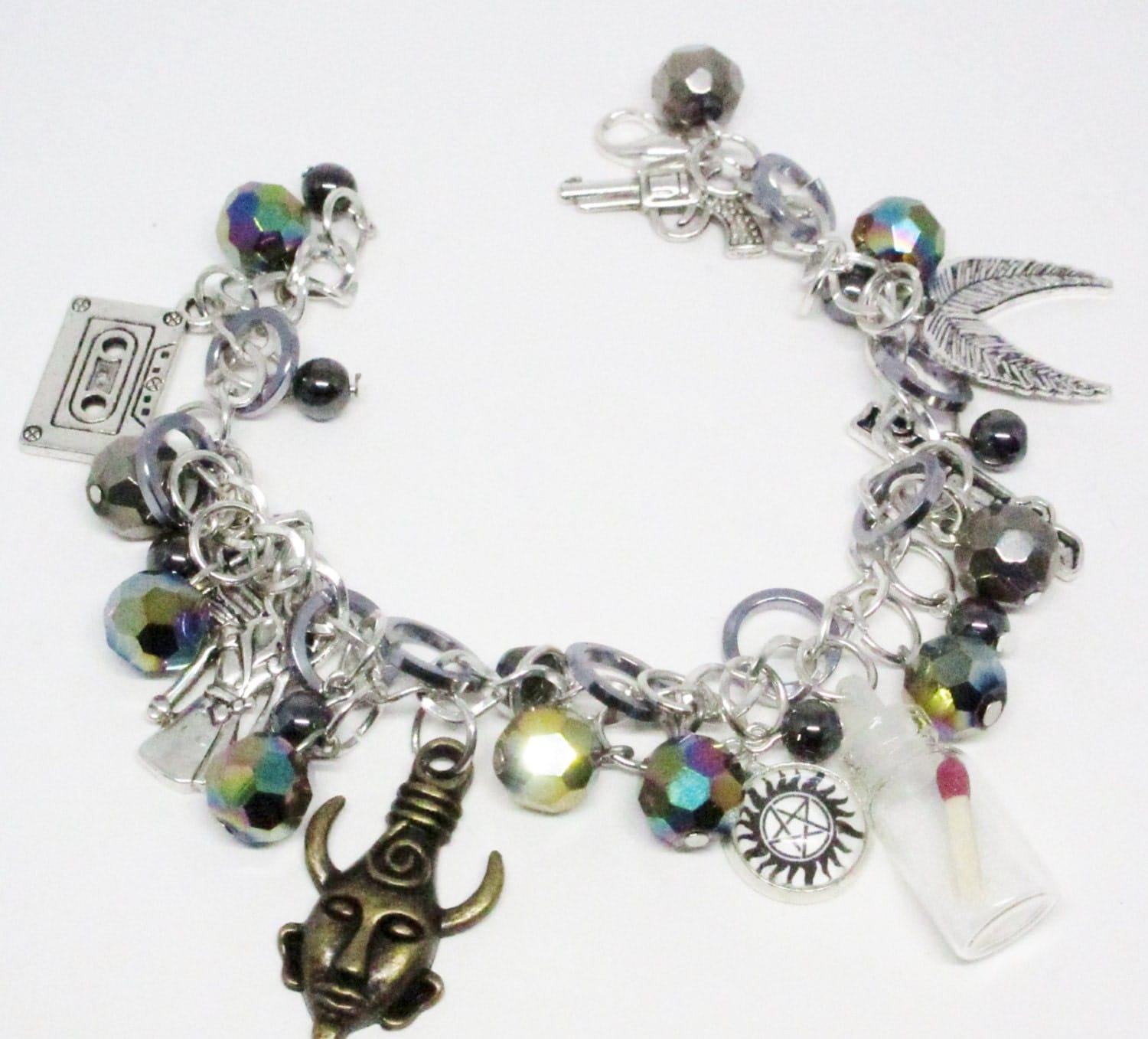 supernatural themed charm bracelet sam and dean winchester