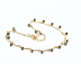 Leticia - Delicate Gold Pyrite Bracelet || Pyrite and Gold Bracelet