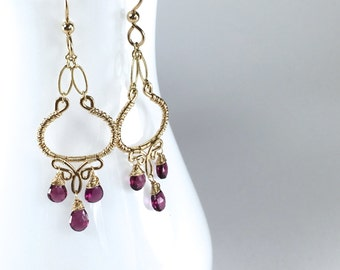 Garnet and Gold Chandelier Earrings || Rhodolite Garnet Dangles