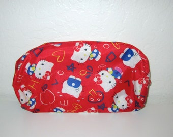 Hello Kitty Zipper Pouch - Nylon Fabric Zip Bag - Red Primary Colors Print Design