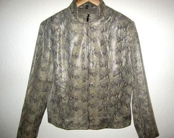 Snakeskin Print Leather Jacket By Adler Collection Vintage 1990's Beige Brown Textured Genuine Leather Women's MEDIUM M