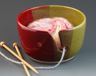 Yarn Bowl in Cranberry Red and Olive - READY TO SHIP