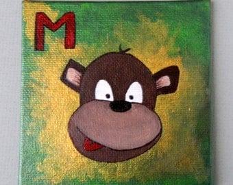 M is for MONKEY original Acrylic Painting, Monkey original painting, children room decorative painting, alphabet animal art painting