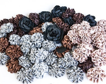 GRAB BAG no. 31 - 82 Black, Brown and Gray Flowers - Pinwheels