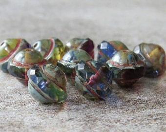 Saturn Amethyst Sapphire Jonquil Picasso Czech Glass 8x10mm Saucer Bead : 10 pc Tri Color UFO Czech Bead