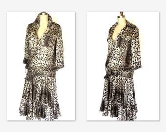 Vtg.Just Cavalli Silk Dress 90 dose 20 Drop Waist Flapper Style Animal Print